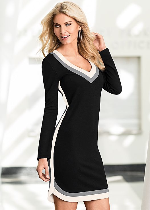 8fefc0aba78 This would go down to my knees ... Black Multi Colorblock dress from ...