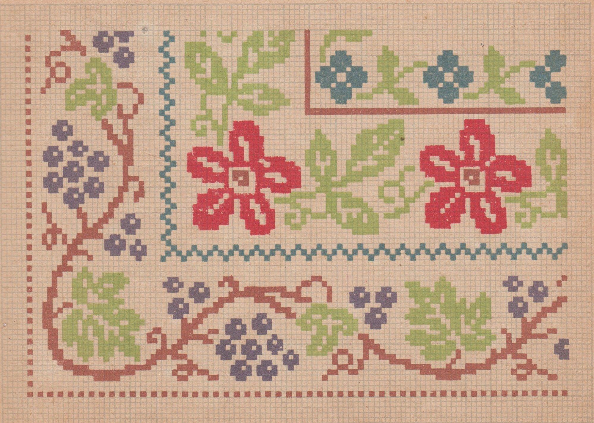 Вышивка крестом схемы каймы