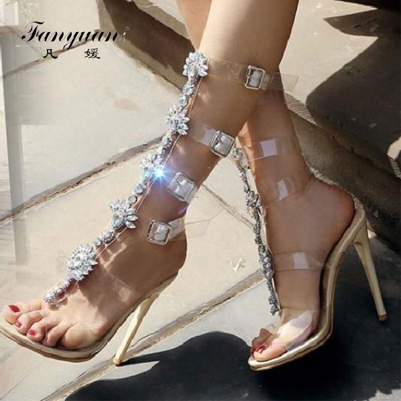 Fanyuan sexy High-heeled Sandals women Transparent Buckle strap Gladiator  Sandals Summer Peep toe Diamonds Wedding bridal shoes 845bd7bf28b1