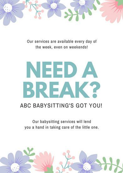 Pin By Jessie Morton On Self Babysitting Flyers Babysitting