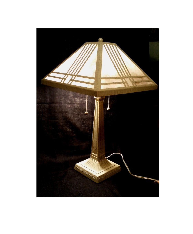 Desk Lamp, Mission/Craftsman Style, Original Fiberglass Shade, Double Lite  Pull Chains