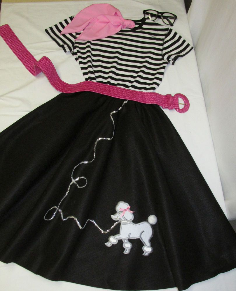 BLACK Poodle Skirt Costume Womens Teen 25 L Striped Top 5 Pc