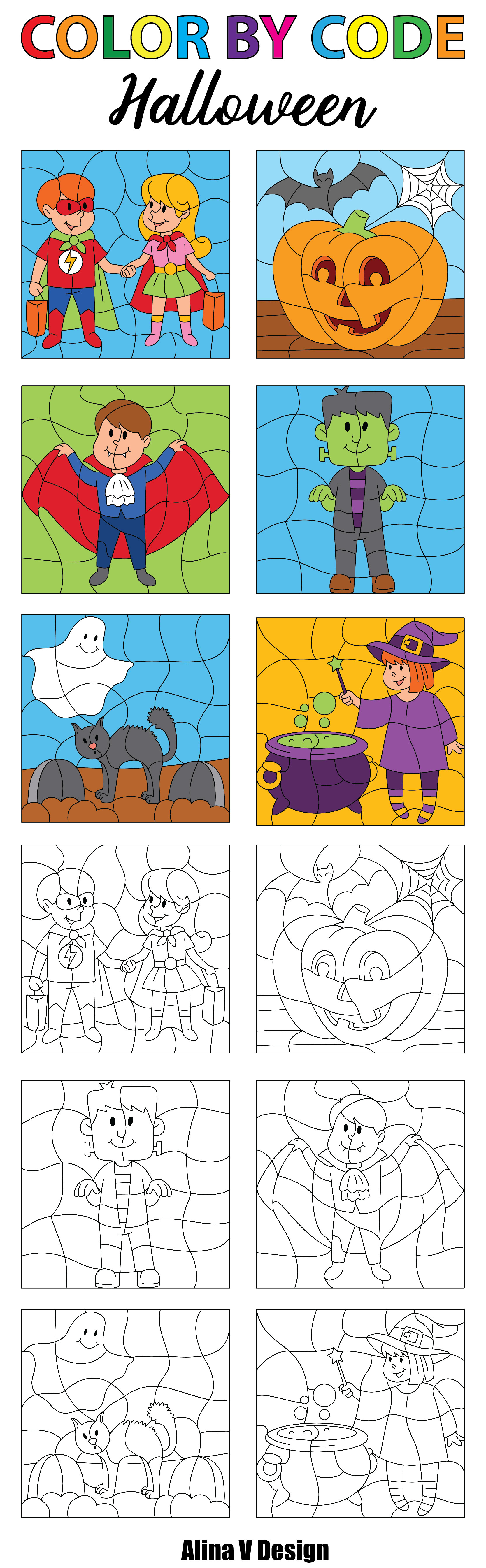 Make Your Own Color By Number - Halloween Theme, Color By Numbers ...