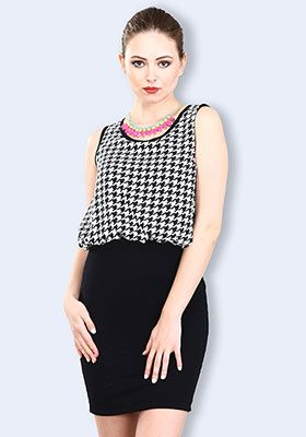 Houndstooth Haze Blouson Dress