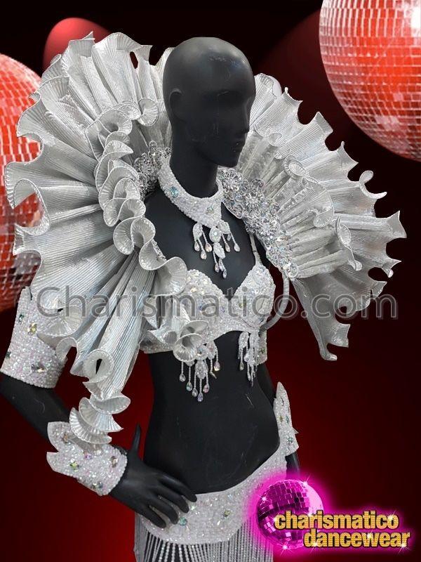 leg guard and mirror underwear set CHARISMATICO Silver Open work neck shield
