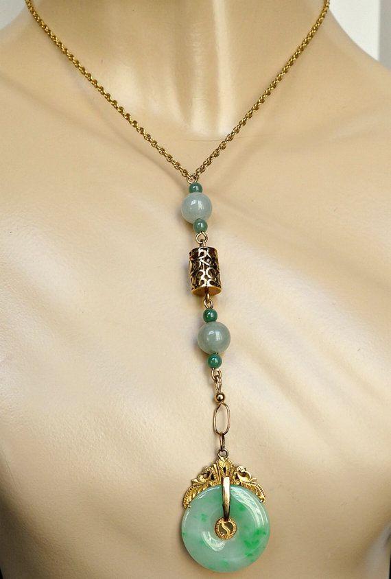 Antique jade 14k gold necklace art deco jade chinese green jade antique jade 14k gold necklace art deco jade chinese green jade necklace 14k gold jade drop necklace ooak mozeypictures Gallery