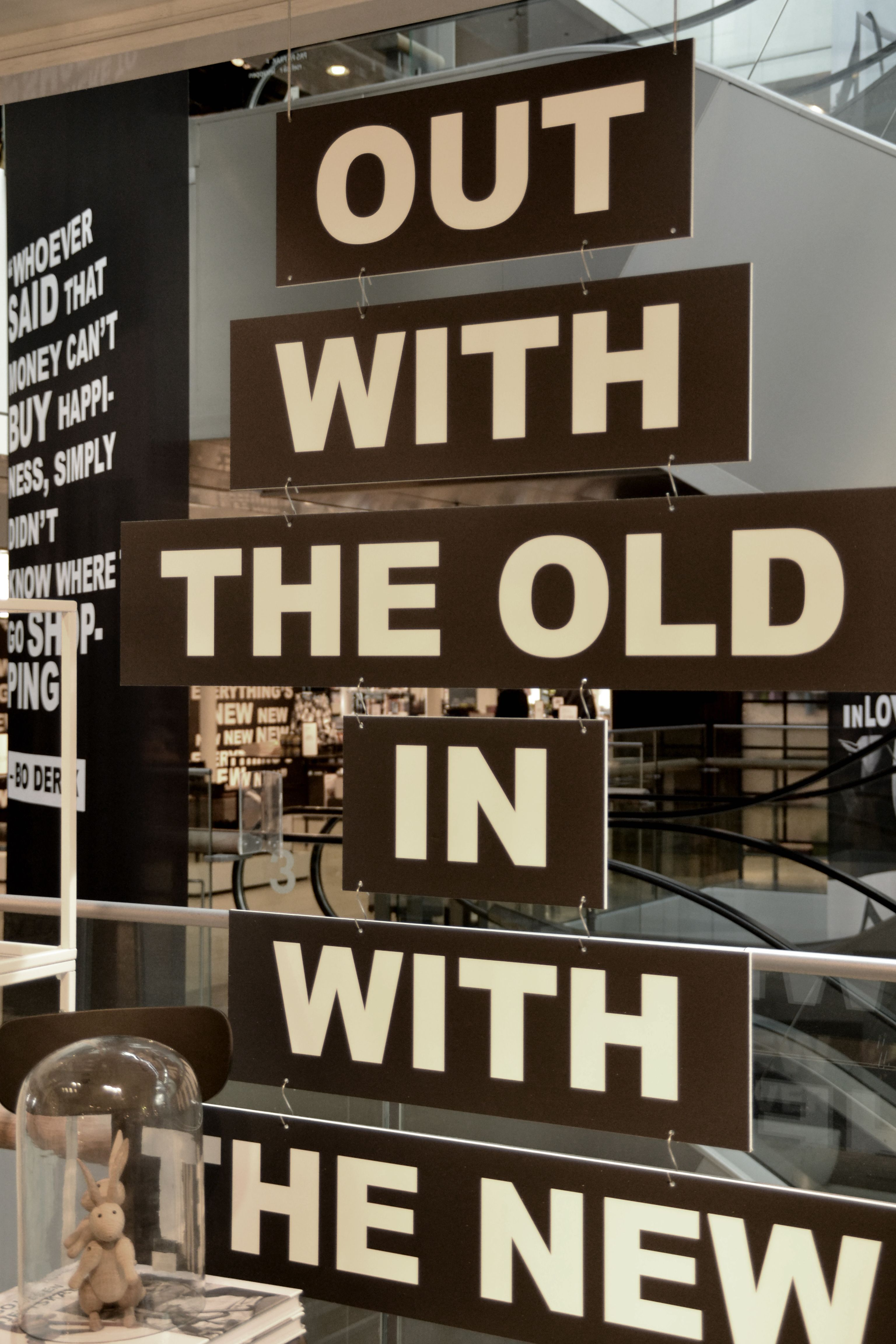 out with the old in with the new subway sign style window or store display great idea for a. Black Bedroom Furniture Sets. Home Design Ideas