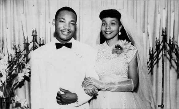 This is a photo ofMartin Luther King, Jr., and his wife Coretta Scott King on their wedding day June 18, 1953 on the lawn of her parents' house in her hometown ofHeiberger, Alabama. His father, Martin Luther King, Sr. performed theceremony.
