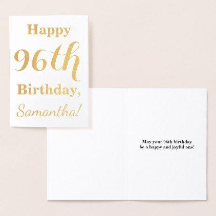 Simple Gold Foil Happy 96th Birthday Name Card Diy Gift Present Custom Ideas
