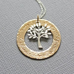 Personalized tree of life gold washer circle with family names gold washer personalized pendant tree of life mothers day gifts piccolajewelry aloadofball Choice Image