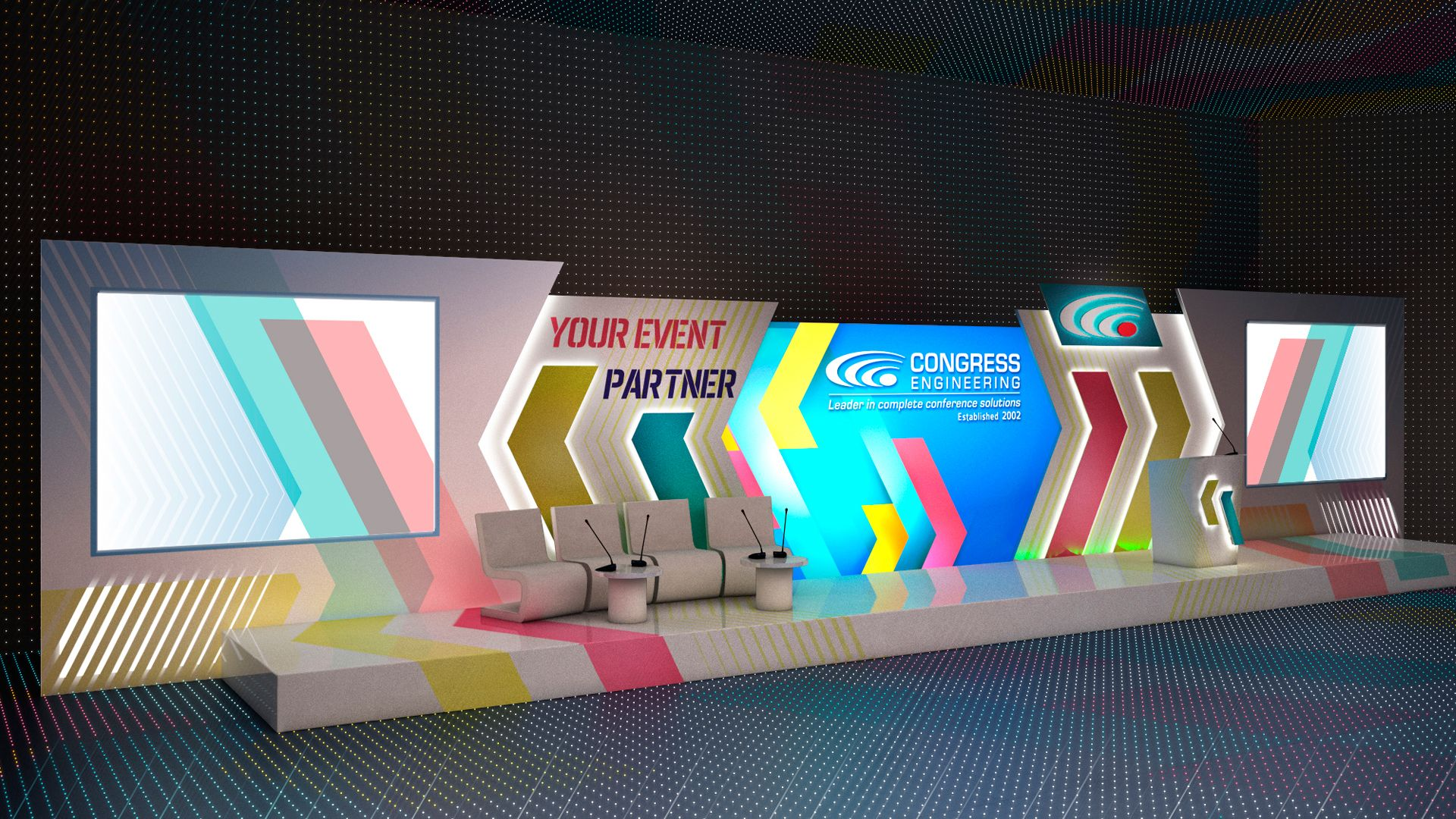 3d Project Corporate Event Stage Design Stage Backdrop