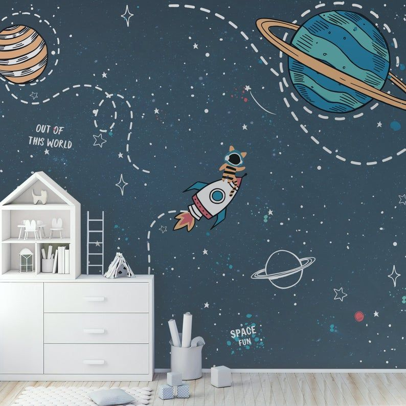 Self Adhesive Peel And Stick Kids Wallpaper Removable Space Etsy Kids Wall Murals Kids Room Wall Murals Kids Room Murals