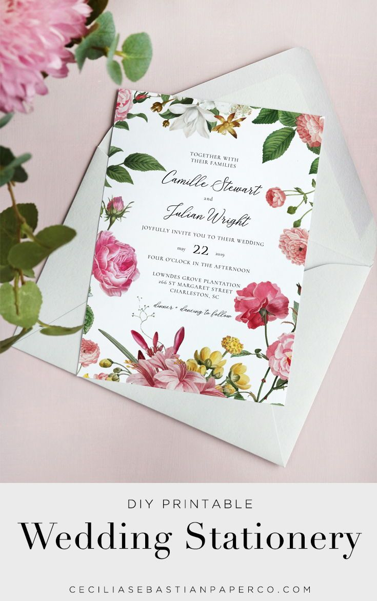 Elegant Vintage Floral Wedding Invitation Template Inst Diy Printable Wedding Invitations Diy Wedding Invitations Templates Customizable Wedding Invitations