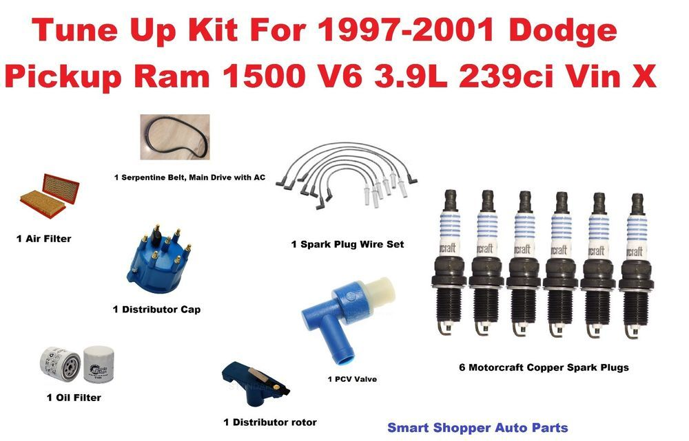 Tune Up Kit For 1997 2001 Dodge Pickup Ram 1500 Serpentine Belt Air Oil Filter Oil Filter Ram 1500 Dodge Pickup