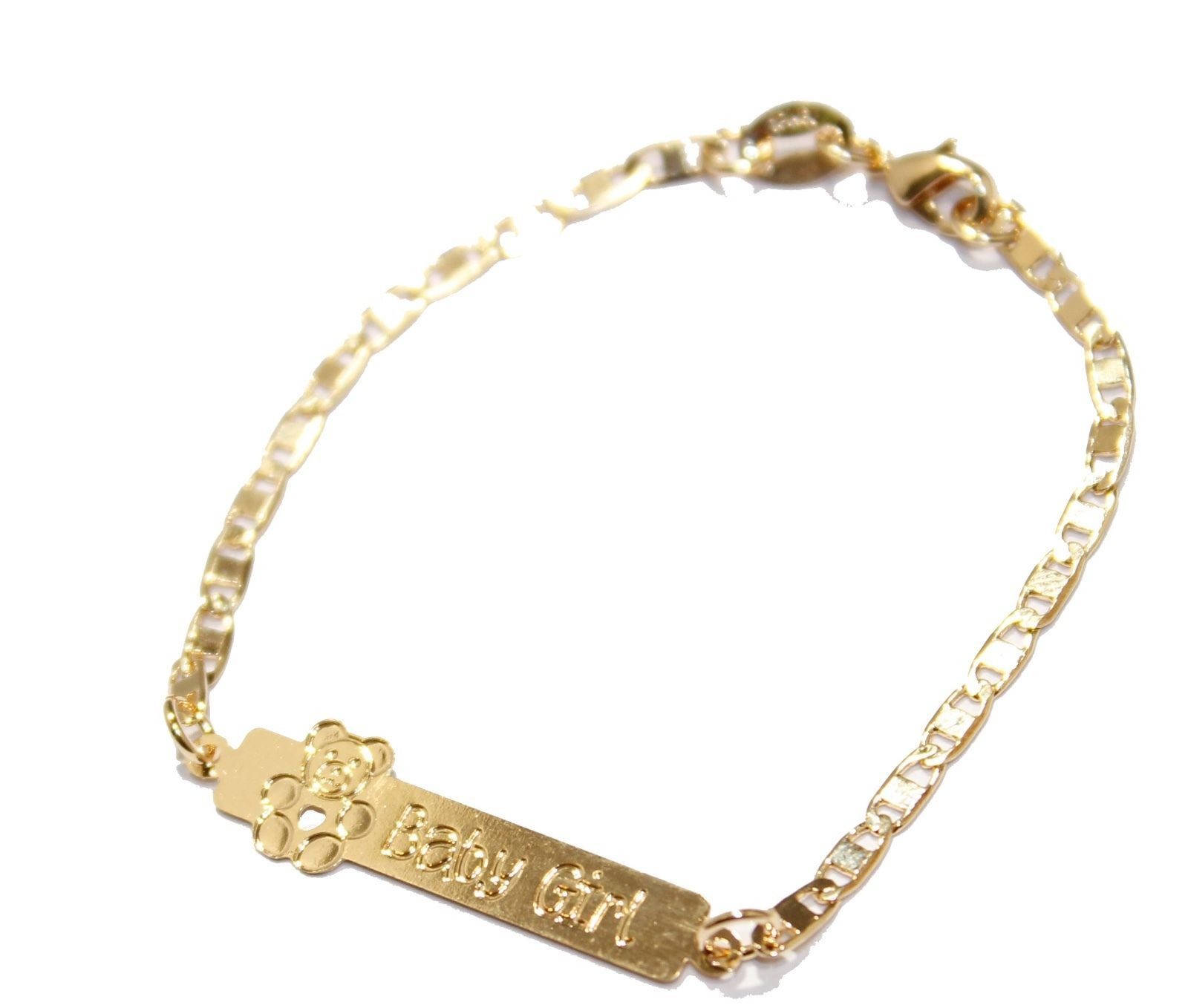 Teddy Bear Girl Tag Id Bracelet 18k Gold Plated Bracelet 6 Baby Id Bracelet Gold Plated Bracelets Kids Bracelets Teddy Bear Girl