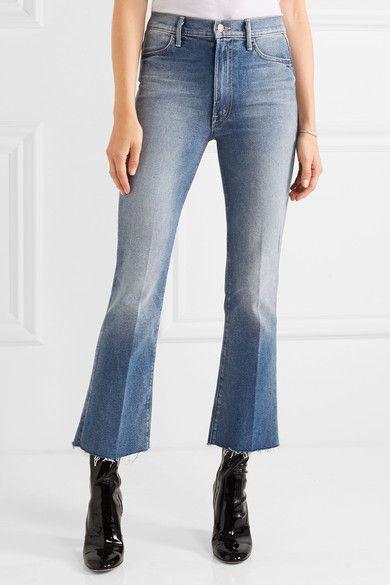 Hustler Cropped Frayed High-rise Flared Jeans - Dark denim Mother 5IirOCE9z