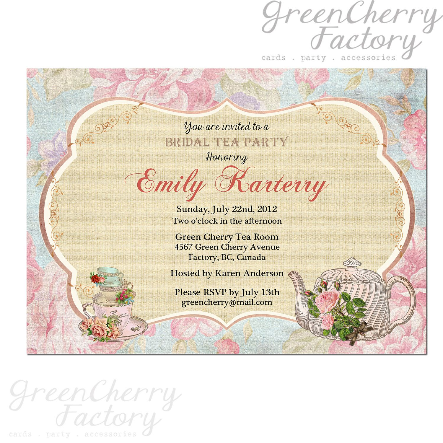 Floralteapartyinvitationbridalteabygreencherryfactory$ Mesmerizing Kitchen  Party Invitation Cards Design Design Inspiration