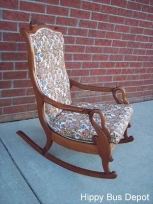 Antique Swan Arm Mahogany Tapestry Rocking Chair
