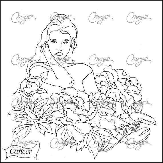 Masjas zodiac sign Cancer Coloring Page made by Masja van