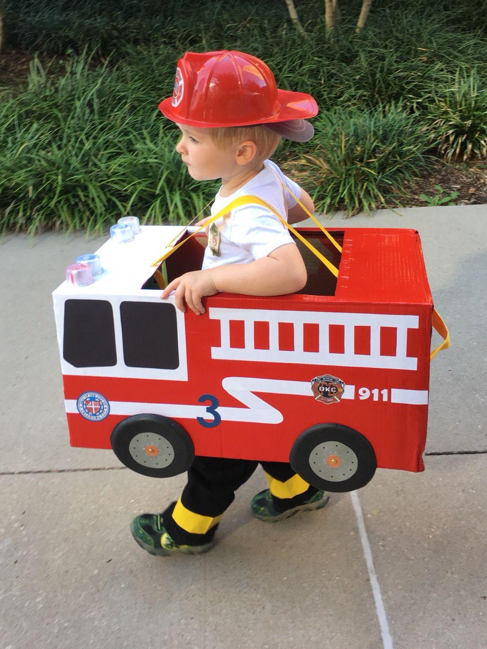 Toddler preschool boy fireman fire truck Halloween costume cardboard box fire truck