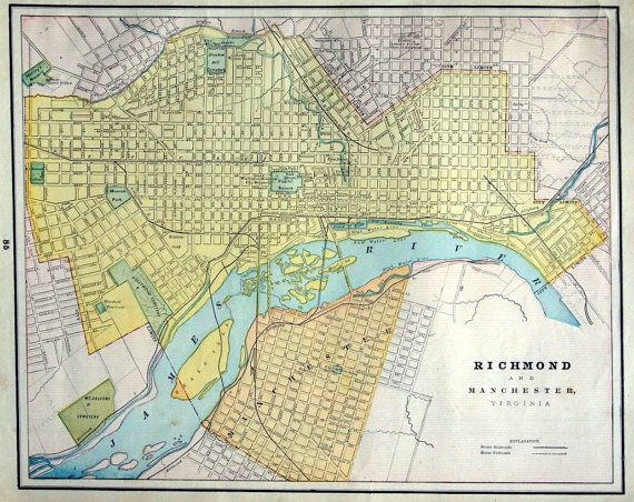 1899 City Map of Richmond and Manchester Virginia
