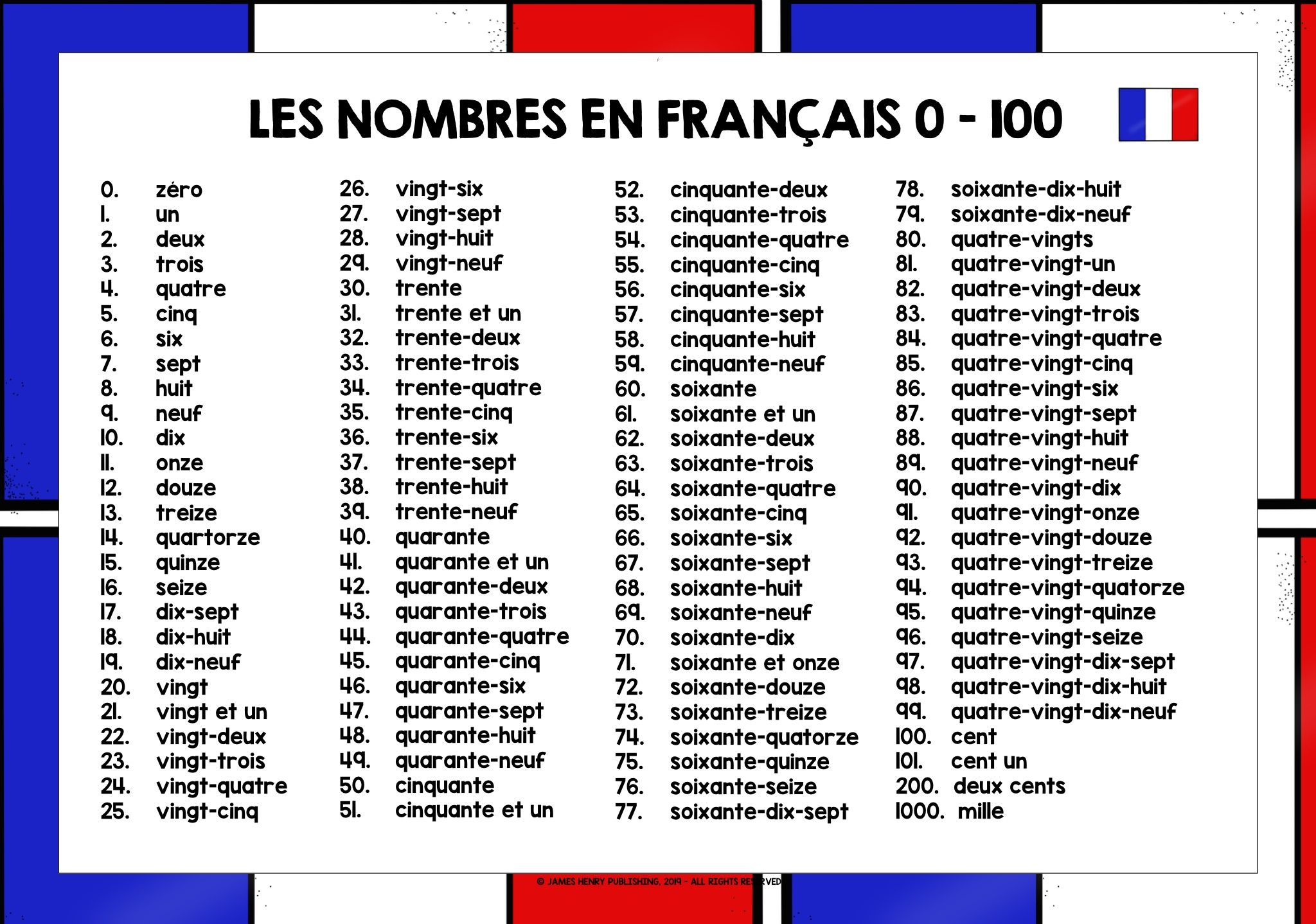 French Numbers 0 100 Teaching French Learning Resources Learning