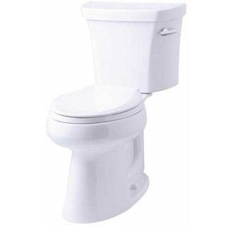 Kohler K 3889 Ra 0 White 1 28 Gpf Two Piece Comfort Height Elongated Toilet With 10 Rough In And Right Hand Trip Lever From The Highline Collection Faucet Co Toilet Kohler Elongated
