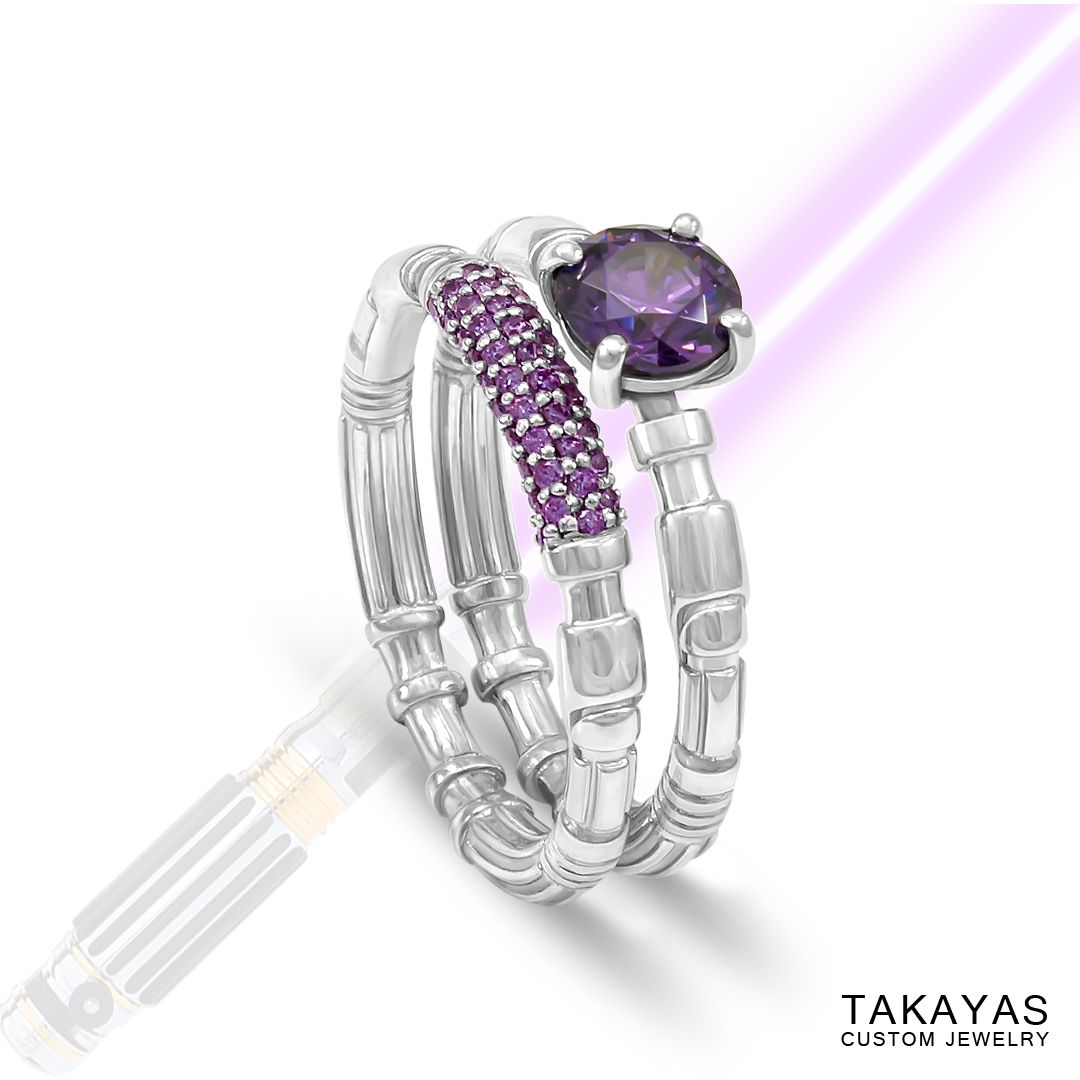 14k Star Wars Inspired Wedding Rings By Takayas Custom Jewelry The  Lightsaber Design Is Based