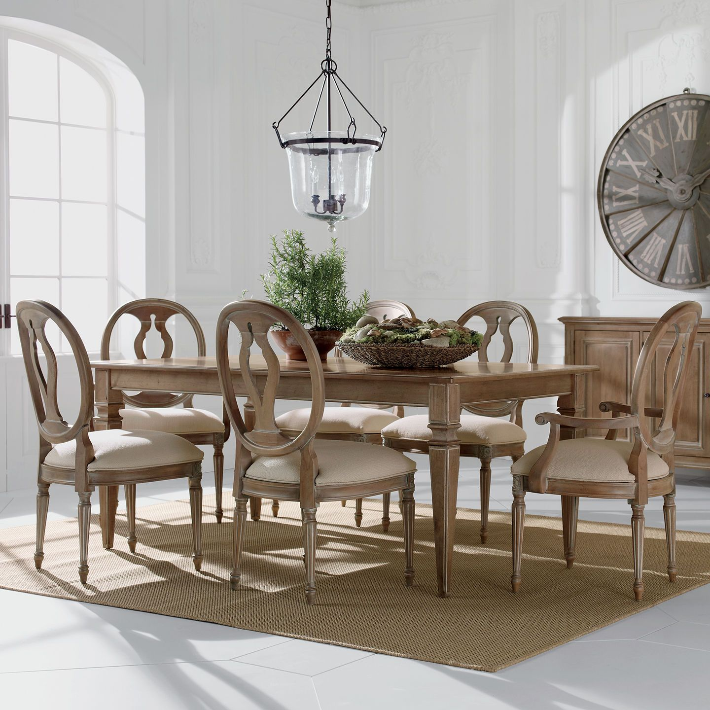 Ethan Allen Neutral Dining Room Avery Table With Margaux Chairs