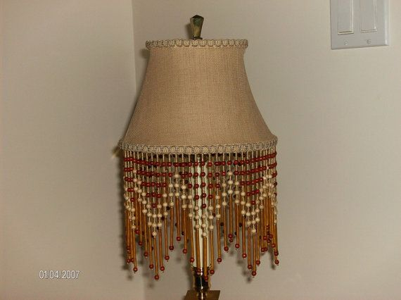 Wood Beaded Light Fixture: Vintage Glass And Wood Bead Fringe Lampshade By