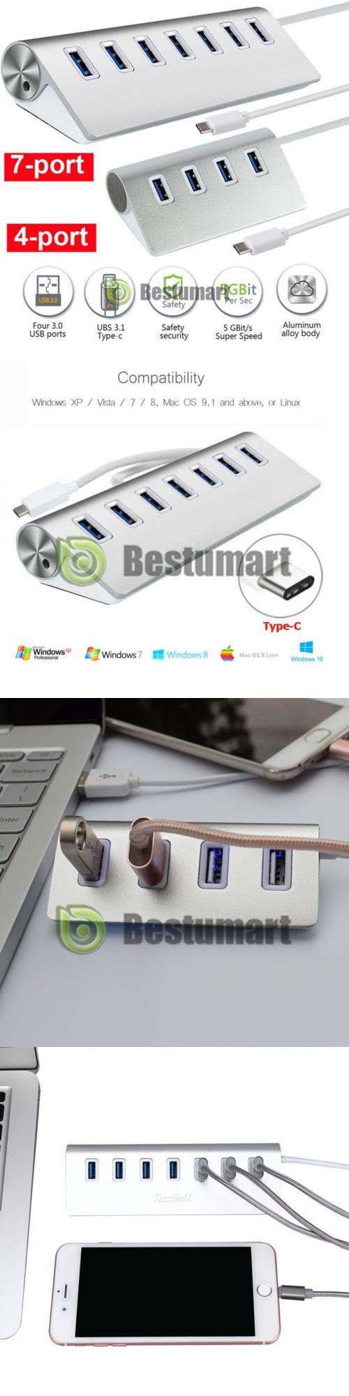 USB 3.1 TypeC to 4//7-port USB 3.0 Aluminum Hub Multi-Function For Macs PC Laptop