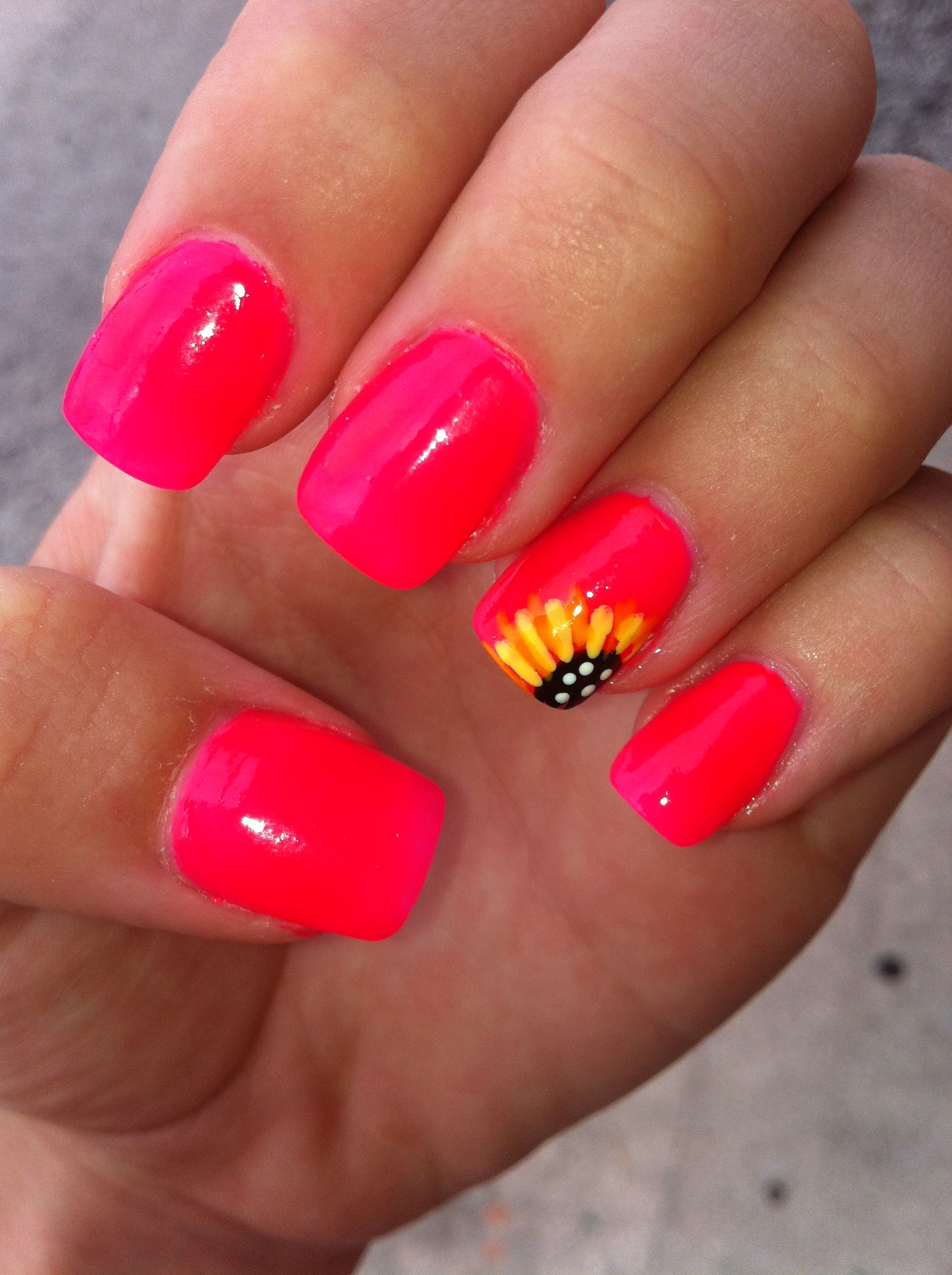 Sunflower Nails Nail Art