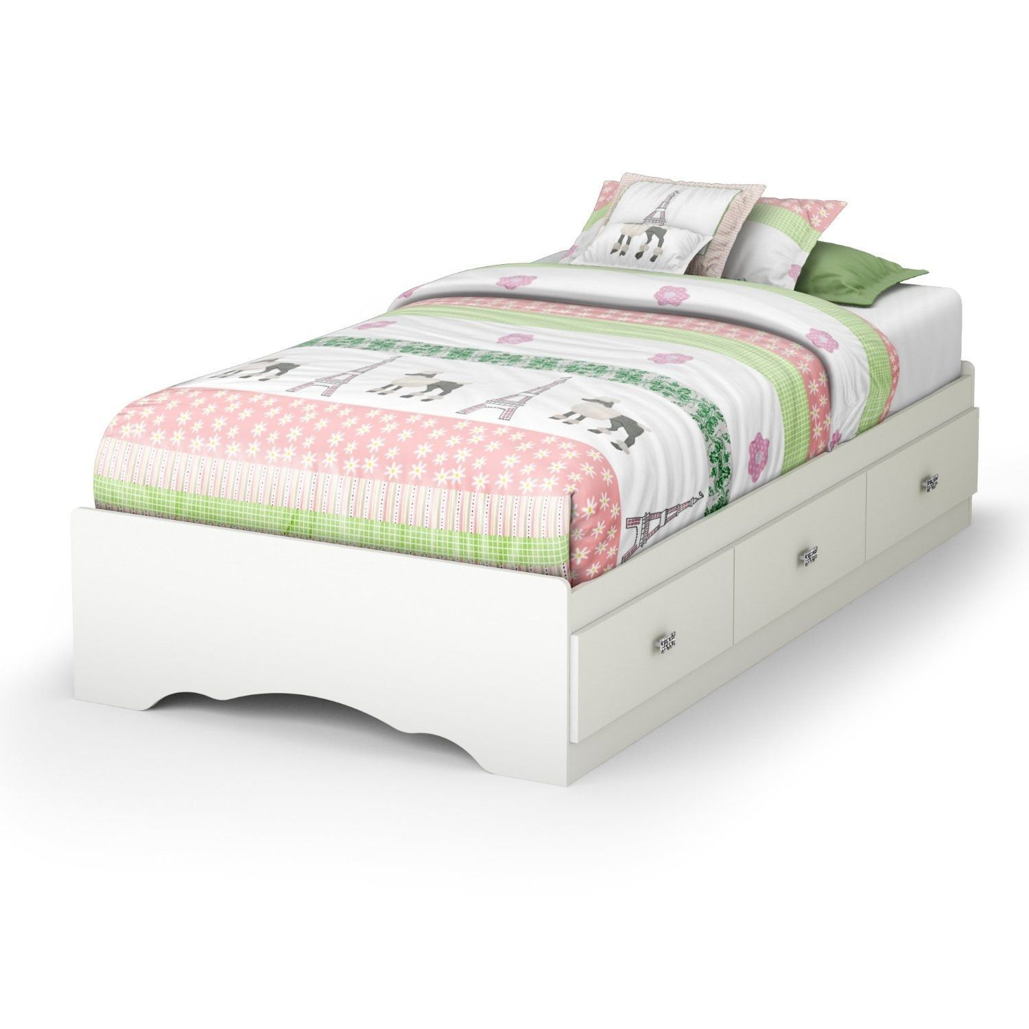 Twin size White Platform Bed Frame with 3 Storage Drawers ...
