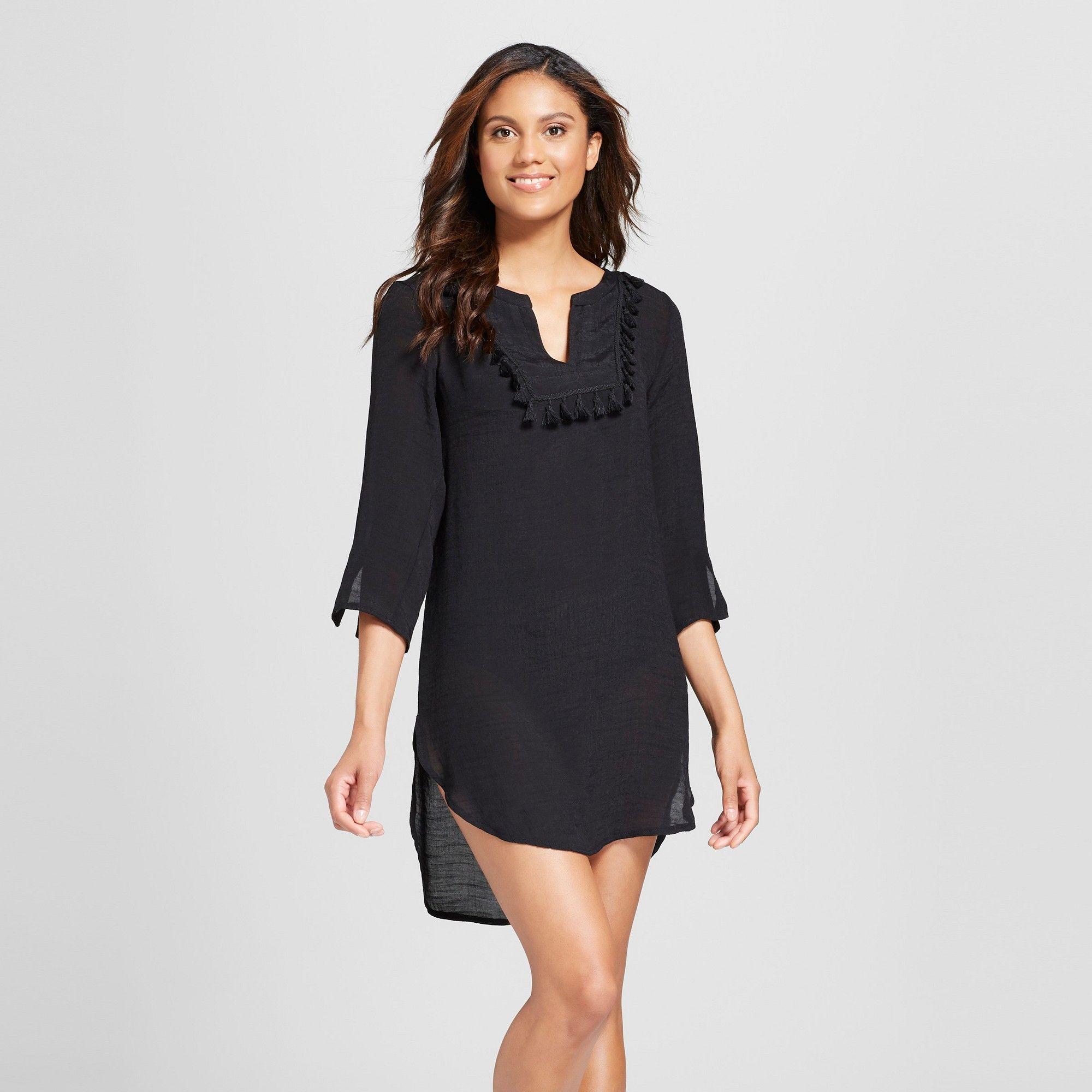 686ecc0bd9a Women s Tassel Shirtdress Cover Up - Merona Navy M