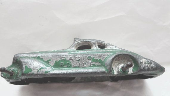 Vintage Radio Police Toy Car Shell Distressed Aged Wear 1930s-40s Green Measures  3  & 5/8  X 1 Inch No Wheels