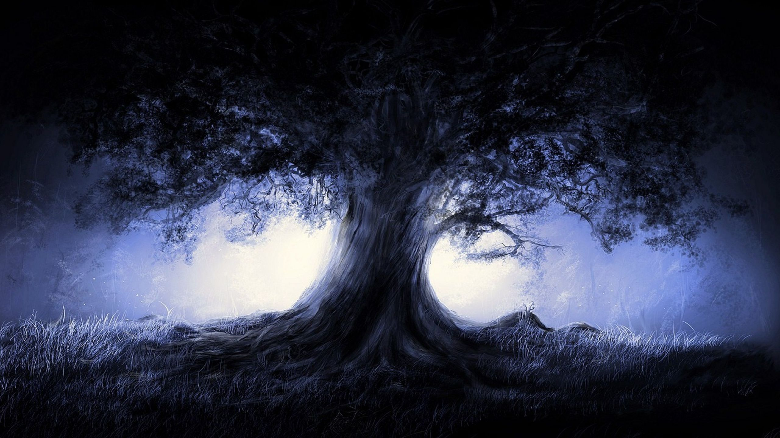fantasy blue landscapes nature trees dark night | {color} cool blue
