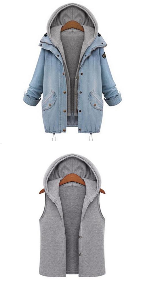 d7c3ae433b SheIn Blue Hooded Drawstring Boyfriend Trends Jean Swish Pockets Two Piece  Outerwear Women Long Sleeve Buttons Coat #women #fashion #summer #flower  #dres # ...