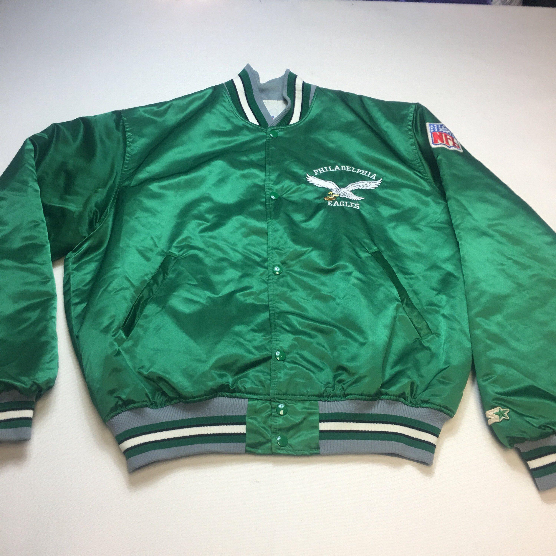 Vintage Mens XL Kelly Green Philadelphia Eagles Satin Starter Bomber Jacket