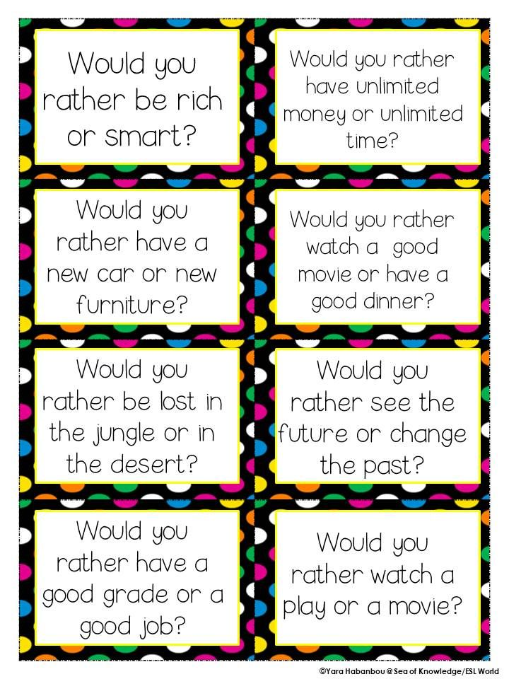 Juicy image with would you rather cards printable