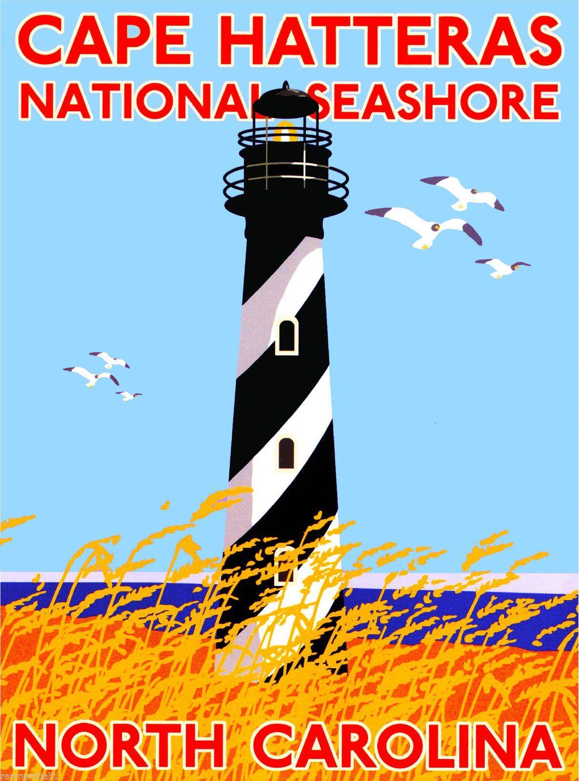 Cape Hatteras Seas North Carolina United States Travel Adver Poster