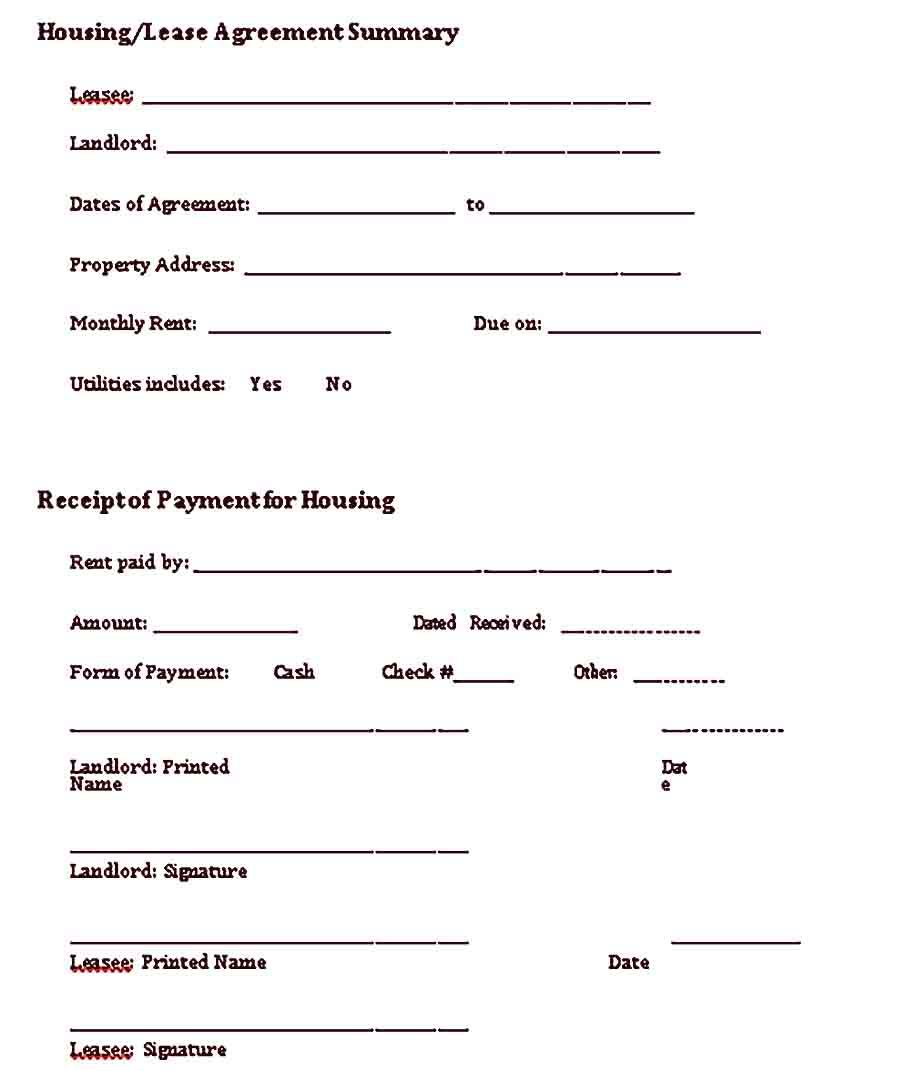 Sample Lease Receipt Template Receipt Template Business Template Being A Landlord