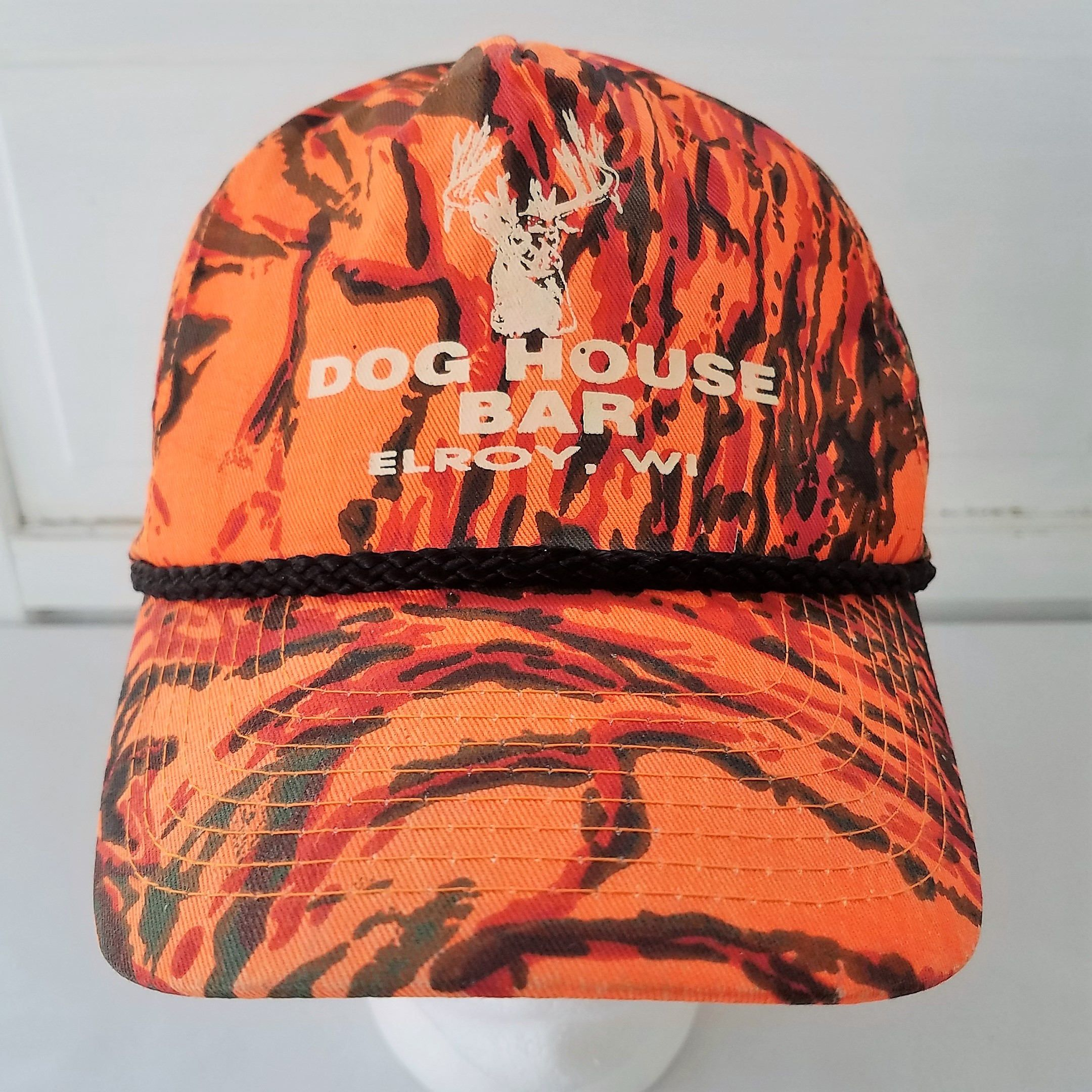 dc2349c8df432b Dog House Bar Snapback Hat Cap Camo Blaze Orange Deer Hunt Elroy WI Hunting  Up North