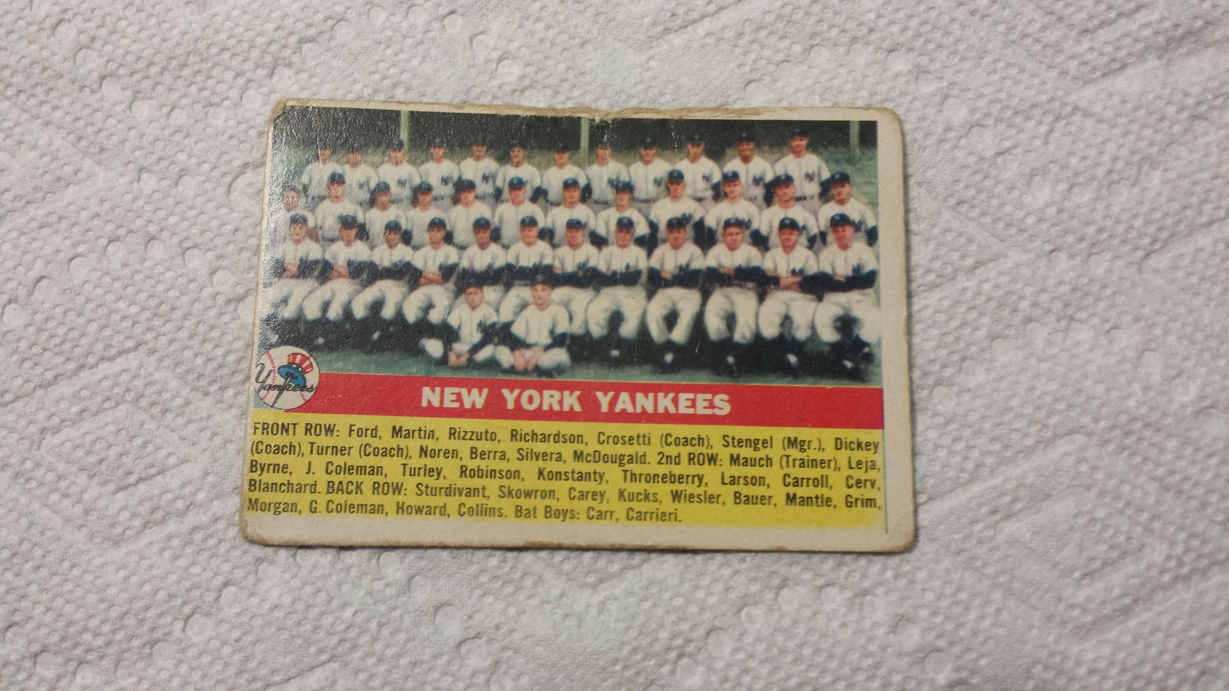 1956 Topps New York Yankees single baseball team checklist card