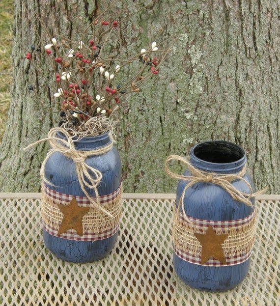 Primitive Jars-Primitive Decor-Patriotic Decoratio