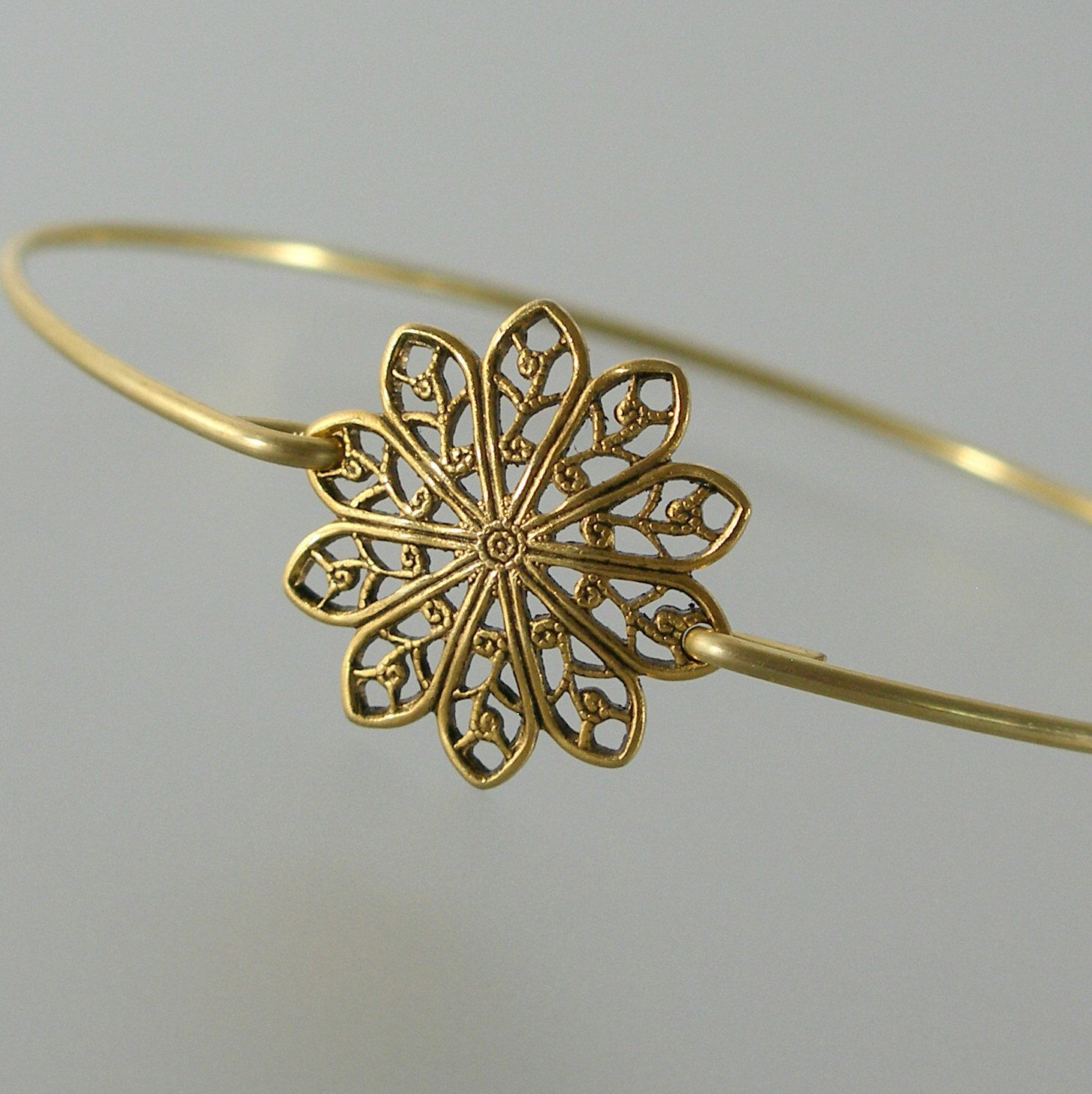 Gold round filigree bangle bracelet gold bangle bracelet gold