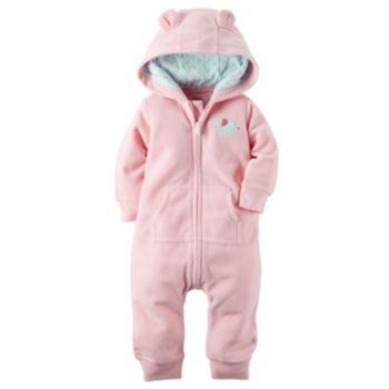 Baby Girl Carter/'s Hooded Zip Up Front Coverall Jumpsuit Fleece Pram 18 Months