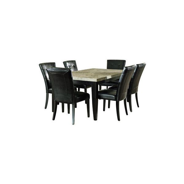 Steve Silver Monarch 7 Piece Marble Top 70x42 Dining Room Set ❤ Liked On  Polyvore Featuring