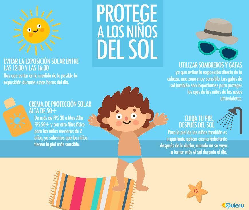 Cómo Proteger A Los Niños Del Sol En Verano Infografias Para Niños Niños Peliculas Para Adultos
