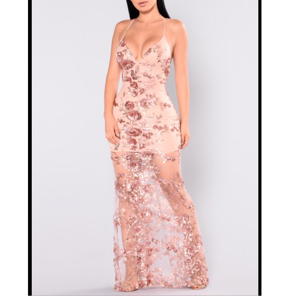 Fashion nova rose gold sequin maxi dress xs products