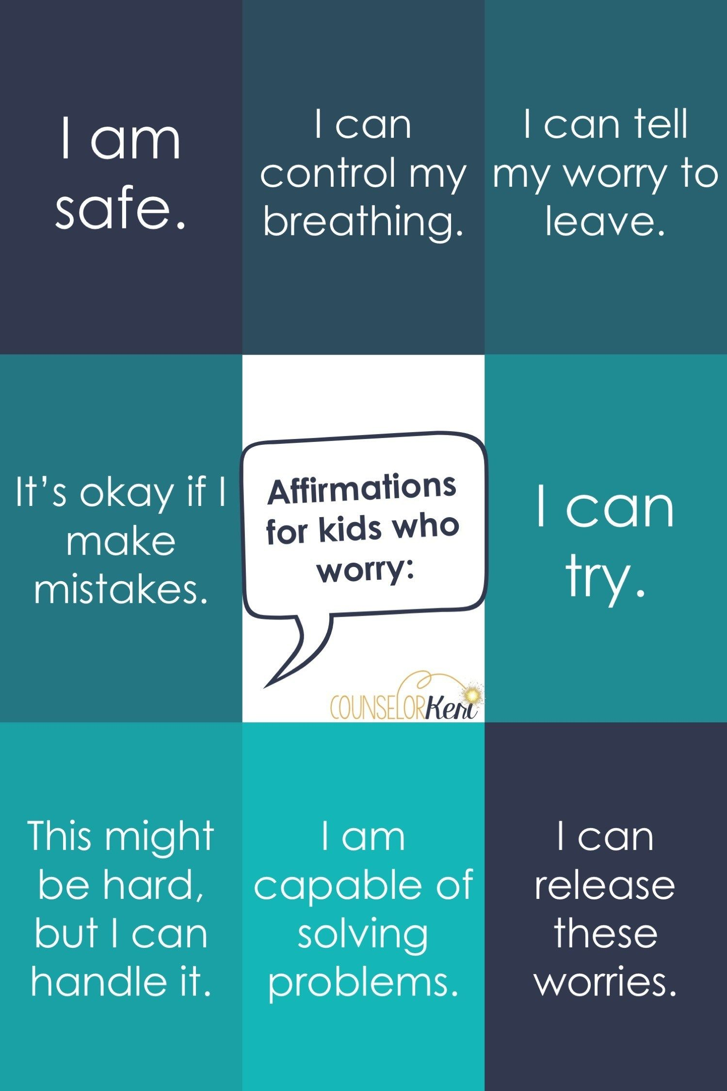 Affirmations For Kids Who Worry
